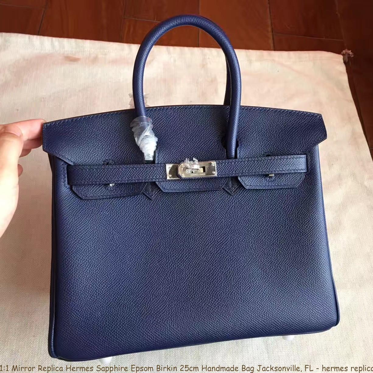 bebb20733 1:1 Mirror Replica Hermes Sapphire Epsom Birkin 25cm Handmade Bag ...