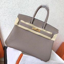 1 1 Mirror Replica Hermes Tourterelle Clemence Birkin 25cm Handmade Bag St.  Louis 4da36d026a3e6