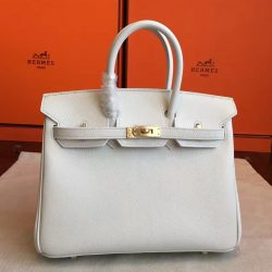 4161448ee558 ... Clearance Hermes White Epsom Birkin 25cm Handmade Bag Boston