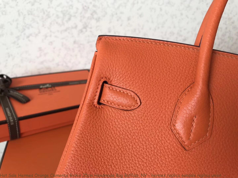 7a6d4e2d96e36 Hot Sale Hermes Orange Clemence Birkin 25cm Handmade Bag Buffalo